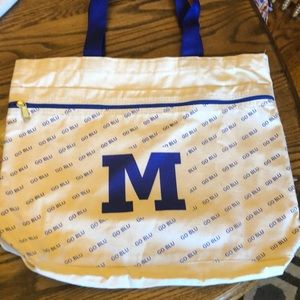 "Michigan ""go blue"" canvas zipper tote"